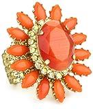 "Rodrigo Otazu ""DNA"" Fire Orange Floral Adjustable Ring"