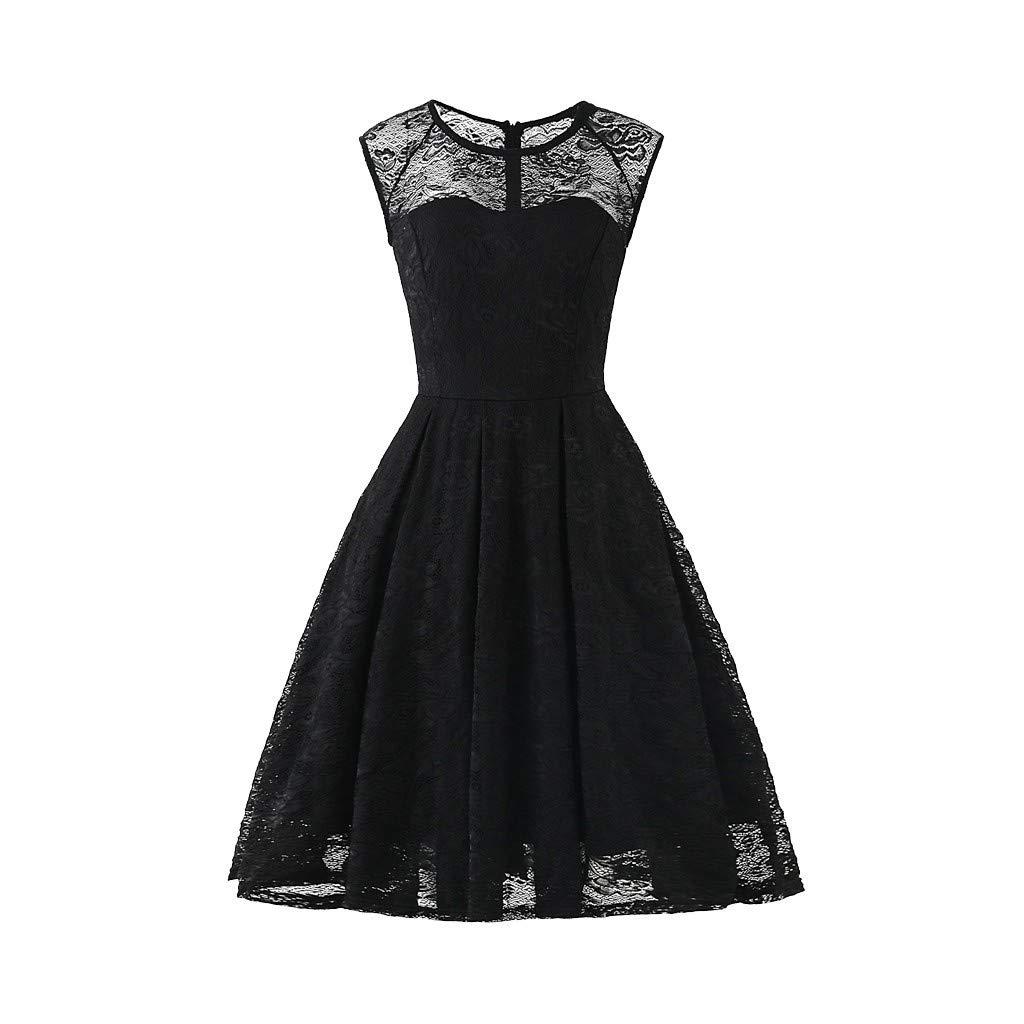 Pervobs Women Vintage 1950s Retro Rockabilly Prom Dresses Cap-Sleeve Crew Neck Elegant Formal Party Mini Dress Vestido(US:12, Black)