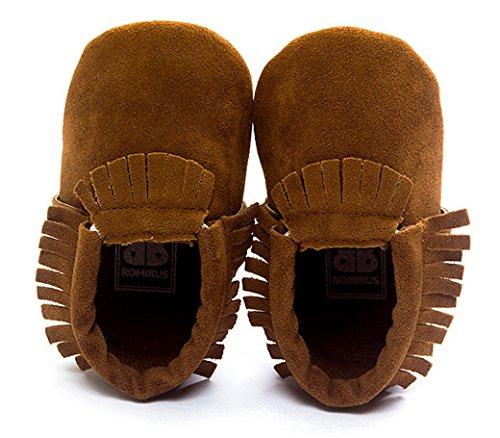 Happy Cherry Zapatos Zapatitos Calzado Infantil Suela Suave Borlas Primeros Pasos Botas Para Bebés Niños Longitud 13cm Talla EU 21 Color Gris Marrón oscuro