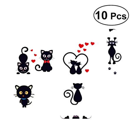 STOBOK 10 unids Gato de Dibujos Animados Lindo Interruptor Etiqueta Interruptor Decoración Calcomanías Familia DIY Decoración