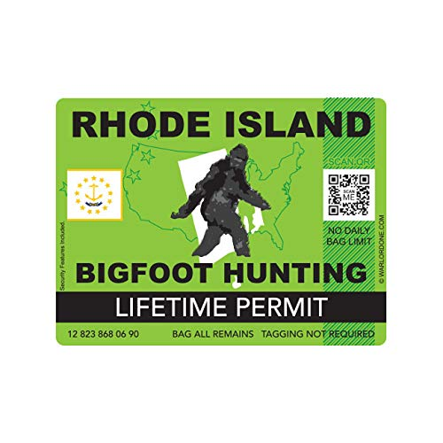 fagraphix Rhode Island Bigfoot Hunting Permit Sticker Die Cut Decal Sasquatch Lifetime FA Vinyl - 4.00 Wide