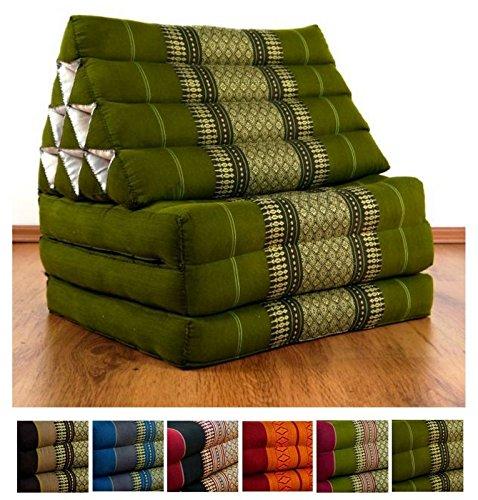 Three Fold Thai Cushion, 67x20x3 inches (LxWxH), 100 % Natural Kapok Filling, Foldable Thai Mat with Triangle Cushion, Headrest, Thai Pillow by LivAsia