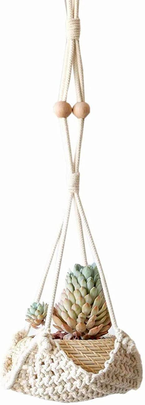 Macrame Cream Cotton Pot Plant Hanger Holder 70cm L **FREE DELIVERY**