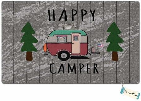 Happy Camper Outdoor Indoor Funny Doormat Floor Door Mat Machine Washable Non Slip Mats Bathroom Kitchen Decor Area Rug for Entrance 18X30 inch