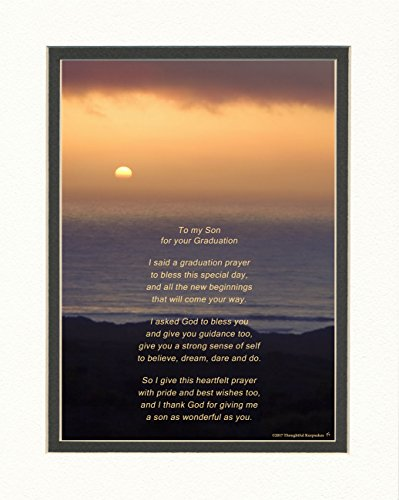 Graduation Gifts Son with Son Graduation Prayer Poem Ocean Sunset Photo, 8x10 Double Matted. Special Keepsake for Son. Unique College and High School Grad Gifts for Son. ()