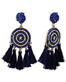 Women's Beaded Dreamcatcher Pinwheel Tassel Dangle Pierced Earrings, Navy/Gold-Tone