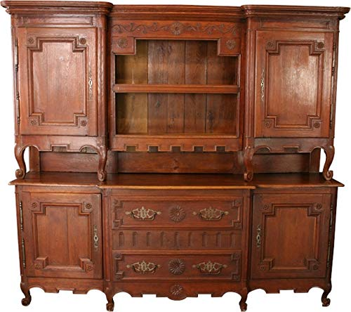 EuroLuxHome Large Antique Buffet Server 1800 French Country Oak Carved Rosettes Wood Peg