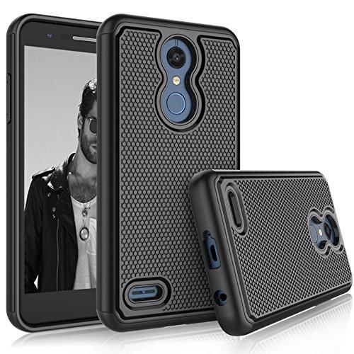Tekcoo LG K30 / LG Harmony 2 Case, LG K30 Plus/LG Phoenix Plus/LG Premier Pro LTE Sturdy Case, [Tmajor] Shock Absorbing [Black] Rubber Silicone Plastic Scratch Resistant Cute Grip Hard Cases Cover