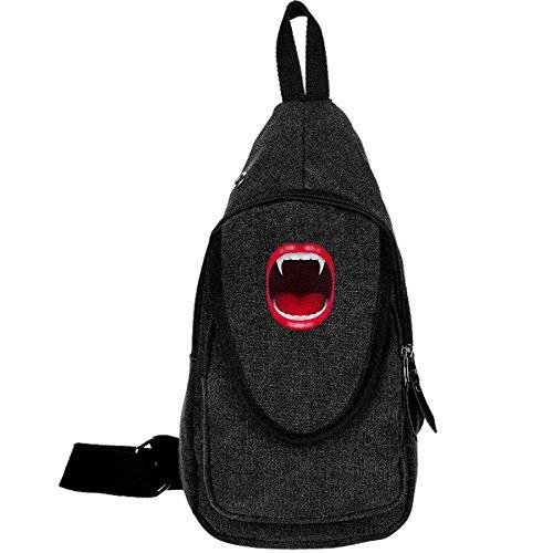 Ewfweef Vampire Mouth Canvas Sling Backpack Travel Shoulder Chest Pack Crossbody Bag Travel Daypack For Women Men ()