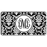 To Gild The Lily Damask monogrammed license plate - Black and white - Personalized front car tag with initials