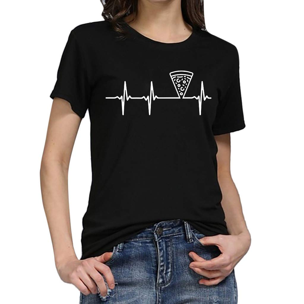 JIAJU--DJ Women Girls Plus Size Print Tees Shirt Short Sleeve T Shirt Blouse Tops