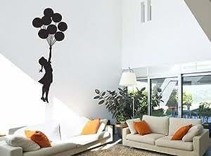 BANKSY FLOATING BALLOON GIRL VINYL WALL ART DECAL STICKER 125CM (H) X 45CM (W) by WALL STICKER WORLD