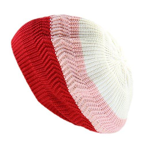 (RW Unisex Cotton Classic Rasta Beanie Tam (RED/Pink/White))