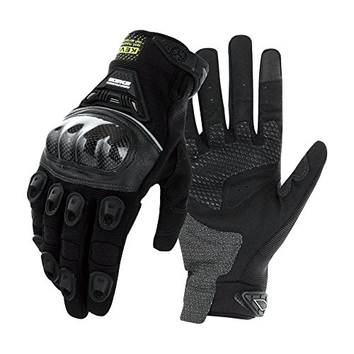 SCOYCO Racing Motorcycle Gloves,Warm,Waterproof,Windproof,with KEVLAR Reinforced Fiber,Carbon Fiber Shell Knuckle(BLACK,L