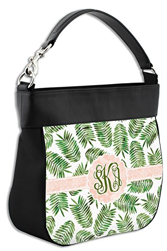 Leather Leaves Front Back Trim Genuine amp; Hobo Purse Personalized Tropical w p1RwdXdq