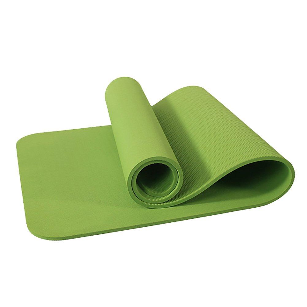 Yoga Mat Non-Slip Movement Beginner Fitness Carpet Dance Blanket High Elasticity Bodhi Leaf Texture 183cm Plus Long Section 10mm Thick Green