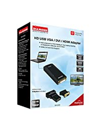 1   HD adaptador de VGA DVI HDMI (R) USB 2.0, totalmente integrado en Windows XP (R), Windows Vista (R), Windows 7 (R), Windows (R) 8 & Mac (R) OS X, 1080p, bvu165