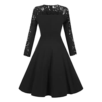 c39008f23b Amazon.com  Women Dress New Hot Sale Fashion Christmas Vintage Lace Formal  Patchwork Wedding Cocktail Party Retro Swing Skirt by Neartime (L