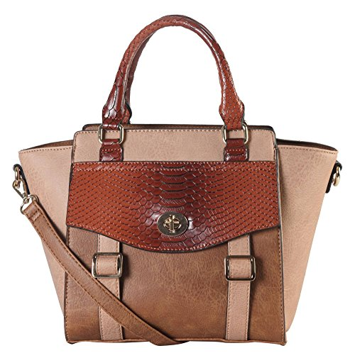 Diophy PU Leather Two Tone Front Pocket with Flap & Buckle Décor Top Handle Handbag Accented with Removable Strap Womens Purse PS-3375 - Flap Pocket Shoulder Bag