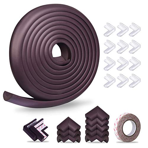 Baby Proofing Edge Corner Protector, Momcozy Child Safety Furniture Edge Bumper, Table Edge Guards, 16.4 ft Edge + 20 Corners, Pre-Taped Baby Safety Corners Cushion, High Elasticity(Brown)