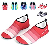 Water Shoes Adult,GFtime Women Men Barefoot Skin Sports Shoes Quick Dry Aqua Socks for Beach Swim Surf Yoga Hiking Red 7.5 B(M) 6.5 D(M)