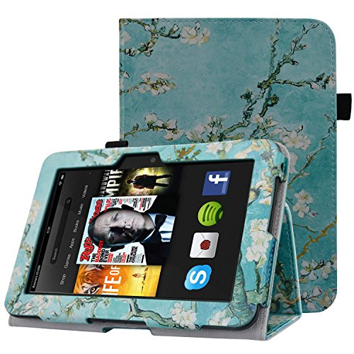 HOTCOOL Case For Kindle Fire HD 7 2012 Tablet - Slim Folding Stand Smart Cover For Amazon Kindle Fire HD 7 (Previous 2nd Generation 2012), Flower (Kindle Fire 2nd Generation)
