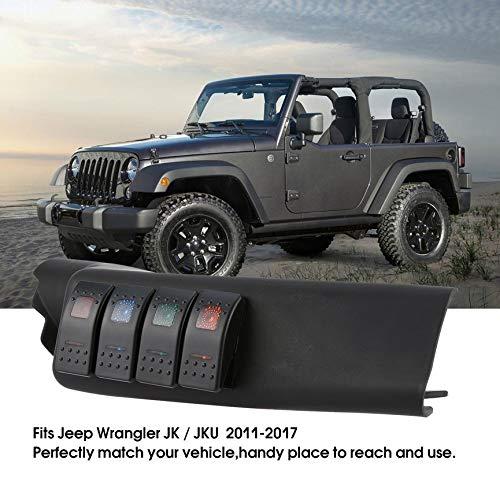 Peanutaod Linke Seite A-S/äule Switch Pod Panel 4 Wippschalter Kit f/ür Jeep Switch Panel F/ür Jeep Wrangler JK JKU 2007-2016