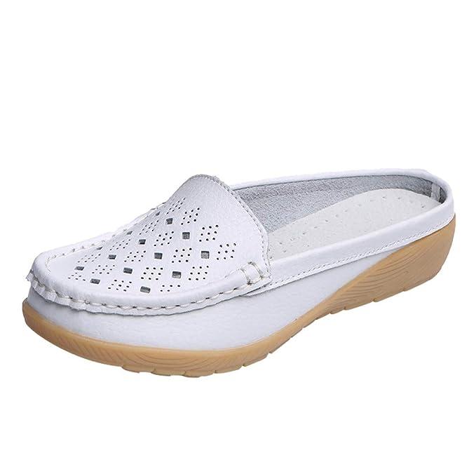Zapatos de Mujer, ASHOP Casual Planos Loafers Mocasines de Puntera otoño Invierno Botas de para Mujer Media Slipper Zapatos De Los Guisantes: Amazon.es: ...