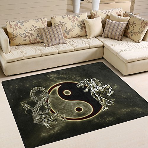 (XiangHeFu Soft Doormats 7'x5' (80x58 Inches) Area Rugs Chinese Dragon Tiger Tai Bagua Yin Yang Black And Non-Slip Floor Mat Resting for Living Room)