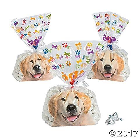 Doggy Bag Cellophane Bags - 12 pc - Golden Retriever Wrapping Paper