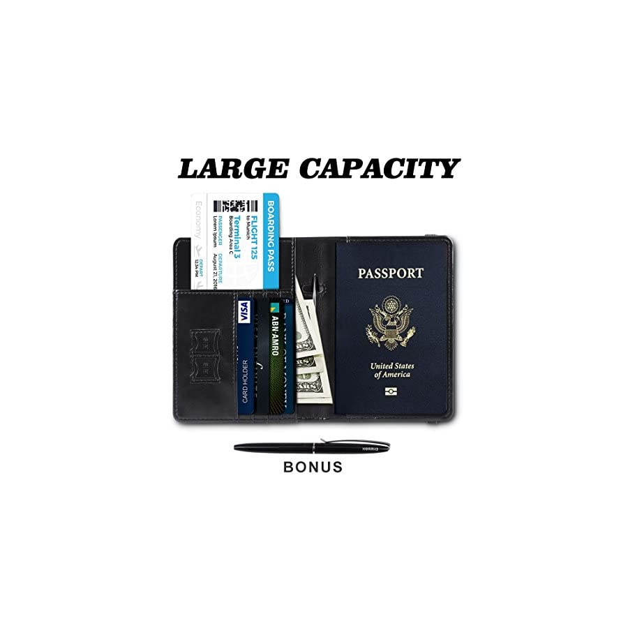 Passport Holder Cover Case Leather RFID Blocking For Women Men With Bonus Pen