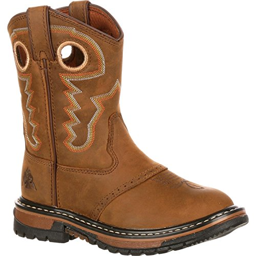 Rocky Unisex FQ0003575 Western Boot, Old Town Brown/tan, 7 M US Big Kid