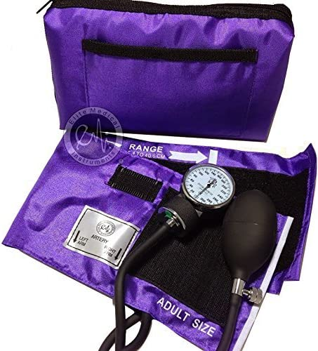 EMI Purple Deluxe Professional Aneroid Sphygmomanometer Manual Blood Pressure Monitor Set with Adult Cuff and Carrying Case Adult Cuff
