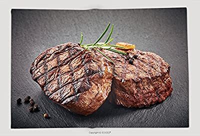 Supersoft Fleece Throw Blanket Grilled Beef Steaks With Spices On Black Stone Cutting Board 439021414