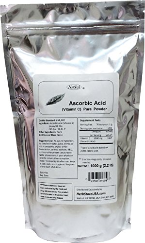 NuSci 100% Pure Vitamin C Ascorbic Acid Powder USP & FCC Quality (1000 grams (2.2 lb)) GMO Free Non-Irradiated