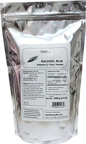 NuSci 100% Pure Vitamin C Ascorbic Acid (VC) Powder USP & FCC Quality (1000 Grams (2.2 lb)) GMO Free Non-Irradiated