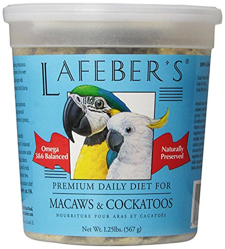 - LAFEBER'S Premium Daily Diet Pellets Pet Bird Food, Made with Non-GMO and Human-Grade Ingredients, for Macaws and Cockatoos, 1.25 lb
