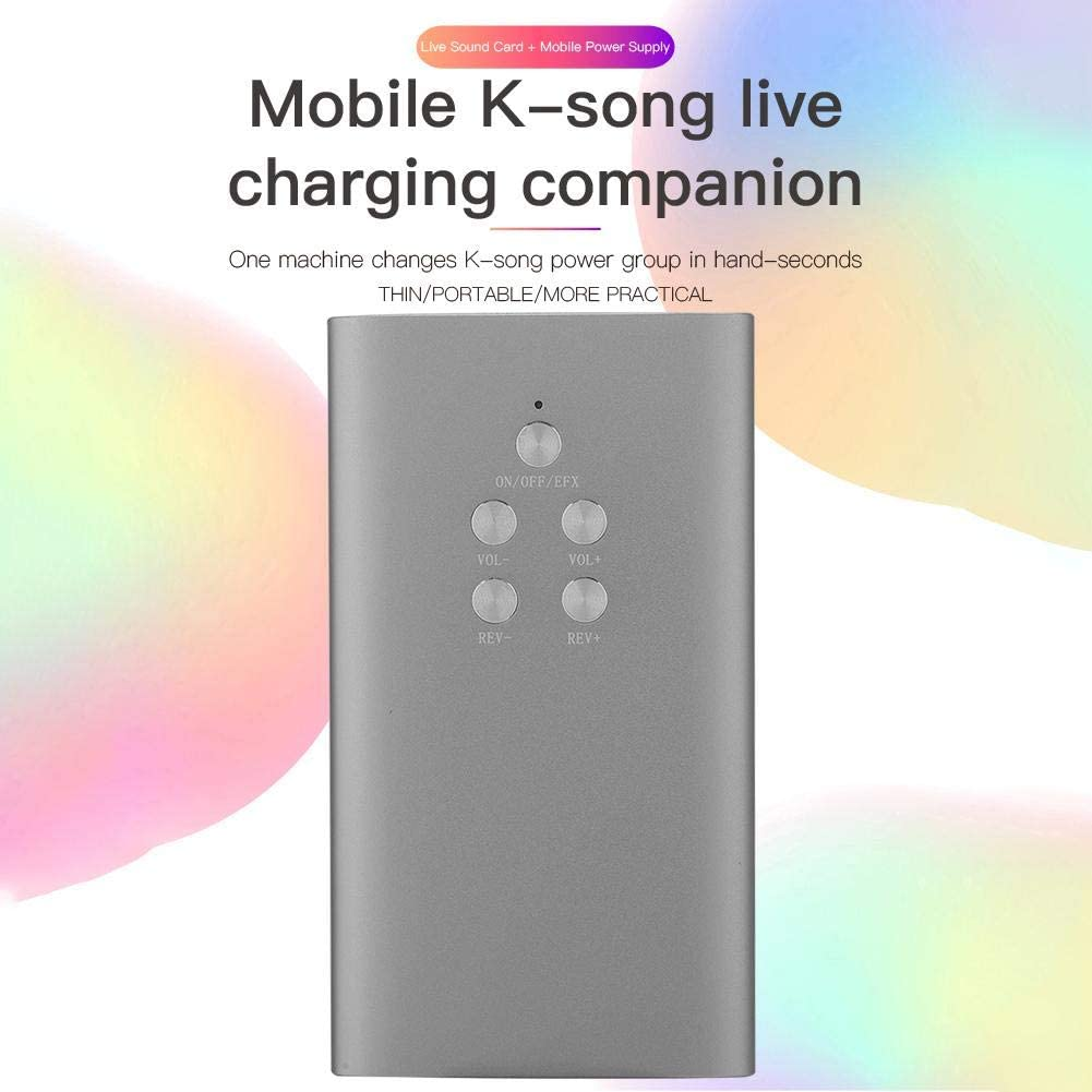 Silver URRNDD MSCP-C3 Portable Karaoke Live Broadcast Sound Card and Mobile Power Supply 2 in 1 Power Bank Computer BT Accompaniment Live Sound Card