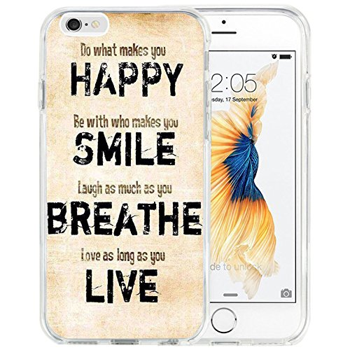 iPhone 6s Plus Case iPhone 6 Plus Case TPU Non-Slip High Definition Printing Inspirational Life Quotes - Happy-Smile-Breathe-Live