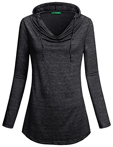 Long Sleeve Sweatshirt for Women ,Kimmery Ladies Crew Neck with Draw T Shirt Soft Lightweight Knit Pleated Front Hooded Tunic Tops Pullovers Solid Winter Sweater Hoodie Black XL