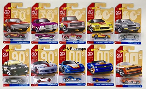 Hot Wheels 50 Years Throwback Set Of 10 '70 Dodge Charger,'72 Ford Ranchero,'85 Chevrolet Camaro Iroc-Z,'86 Monte Carlo SS,'99 Ford Mustang,Dodge Viper,Corvette C6,Camaro Convertible,'15 Challenger