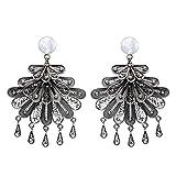 NOVICA .925 Sterling Silver Chandelier Earrings 'Floral Dance'