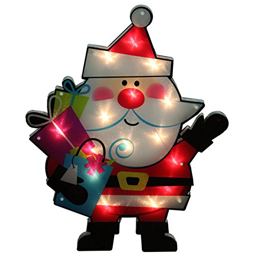 Outdoor Lighted Plastic Santa Claus - 5