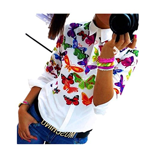 Clearance Sale! Women Shirts WEUIE Women Butterfly Chiffon Tops Long Sleeve Shirt Casual Blouse (S, Multicolor)