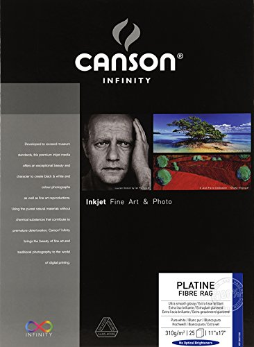 Canson Infinity Platine Fibre Rag Fine Art Paper, 310 Gram , 11 x 17 Inch, 25 Sheets