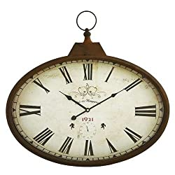 Aspire Daphne Oval Wall Clock, Brown