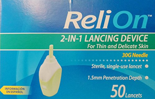 ReliOn - New Product (Needle & Lancets ) For Thin and Delicate Skin - 30 Gauge Needle - Sterile, single-use lancet. 1.5mm Penetration Depth. Includes 50 Lancets. (On Device Lancing Reli)