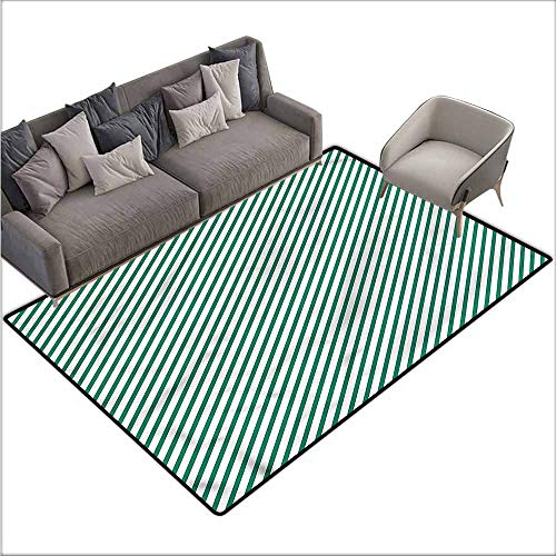 Thin Non-Slip Kitchen Bathroom Carpet Colorful Green,Striped Diagonal Arrangement 80