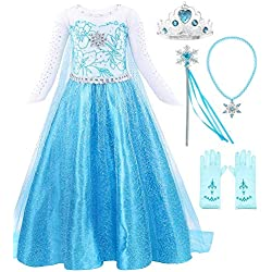 Snow Queen Elsa Princess Party Dress Costume with Accessories (4-5, Style 2)