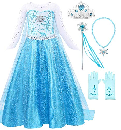 Snow Queen Elsa Princess Party Dress Costume with Accessories (6-7, Style -
